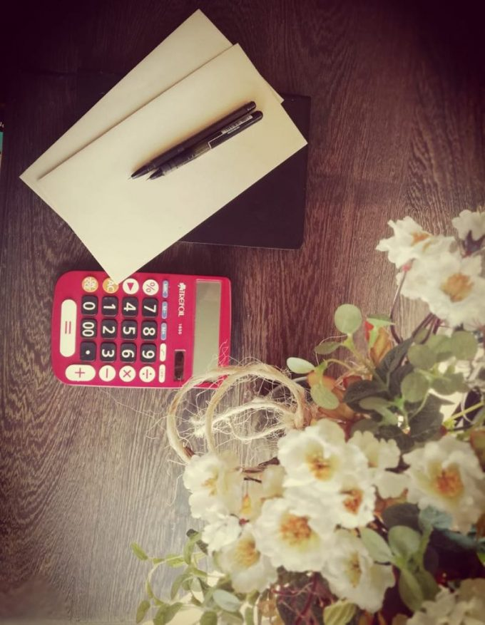 ornamental flowers, calculator and will